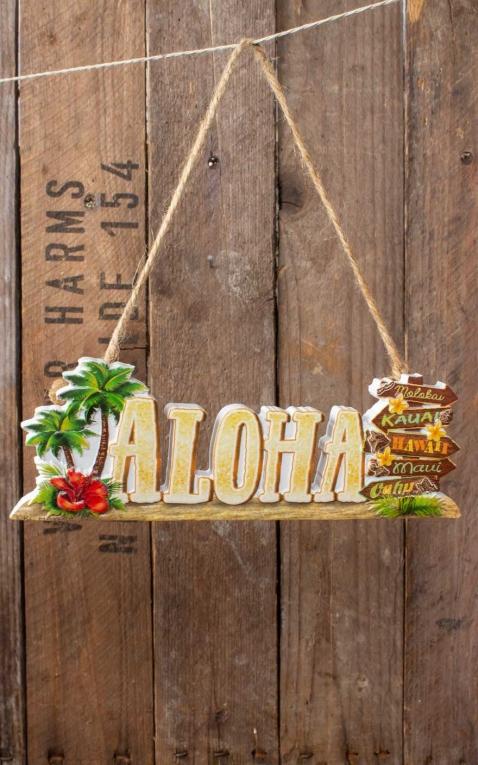 Hawaii Deko Schild Aloha Beach Signs