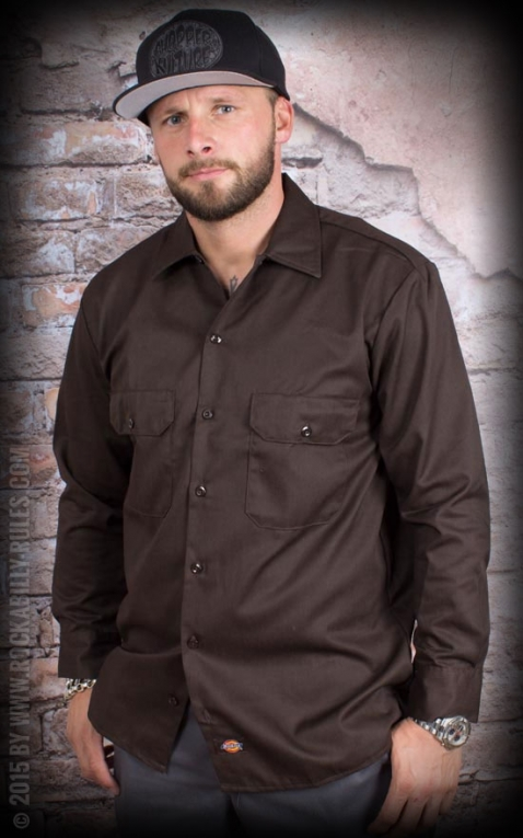 Dickies - Work Shirt Longsleeve, dunkelbraun