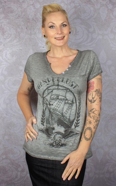 Donkey Swing Ladies Shirt Wanderlust - Eagle with Sailship