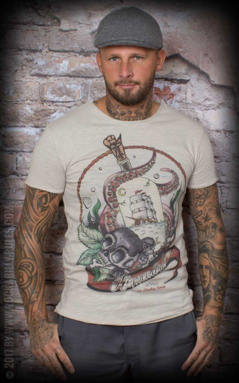 Donkey Swing - Vintage T-Shirt Octopus with Sailship