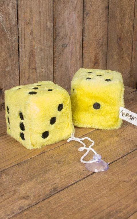 Plüschwürfel | Fuzzy Dice, gelb schwarz