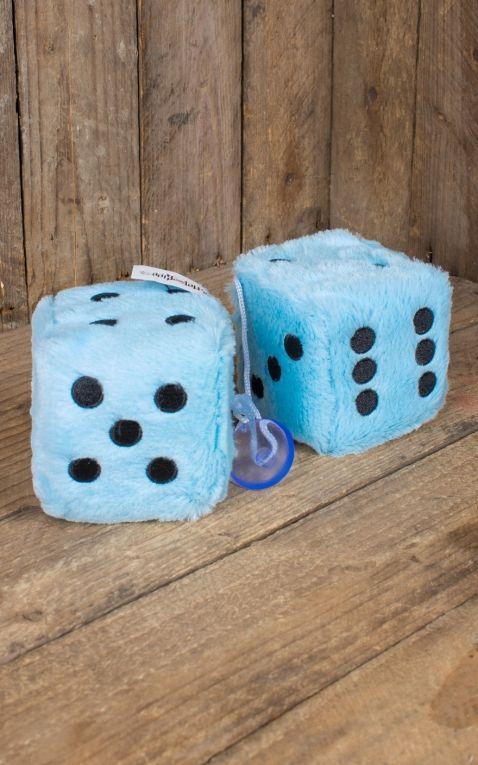 Fuzzy Dice | Peluche Cube, bleu clair noir