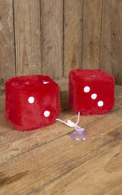 Plüschwürfel | Fuzzy Dice, rot weiß