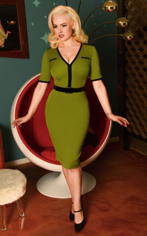 Glamour Bunny - Demi Pencil Dress in Green