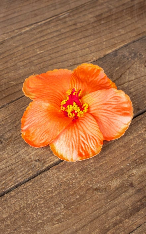 Hair clip hibiscus Hawaii flower, orange