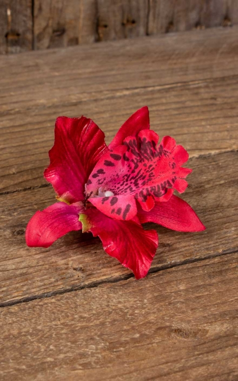 Hair clip Orchid Hawaii flower, red