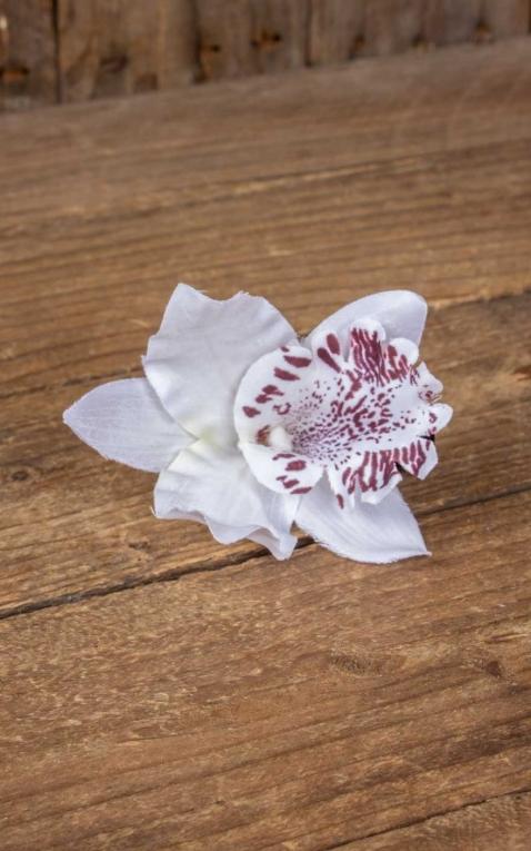 Pince à cheveux Orchidée Fleur dHawaii, blanch