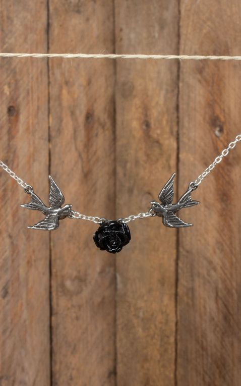 Necklace with Swallows and Rose - Love returns