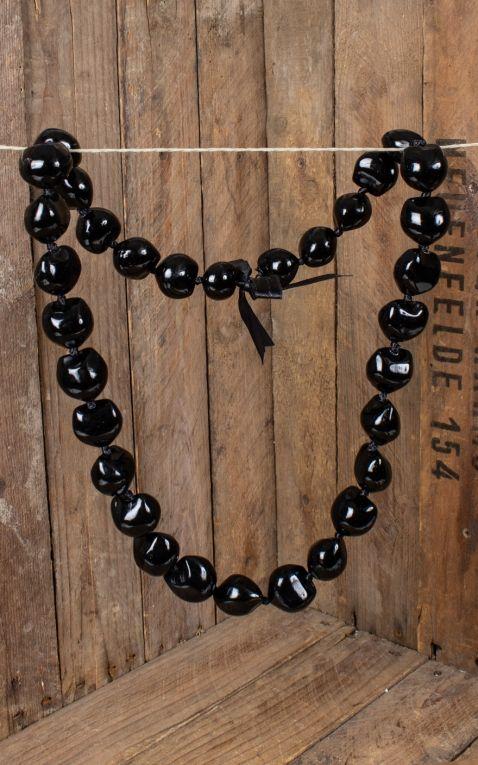 Hawaiian Necklace Kukui Nut Lei, black