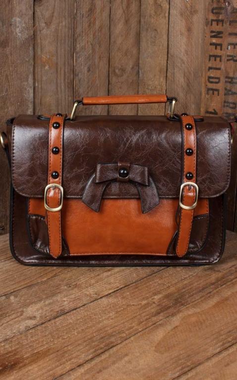 Banned Handtasche - Vintage mit Schnalle und Schleife, dunkelbraun