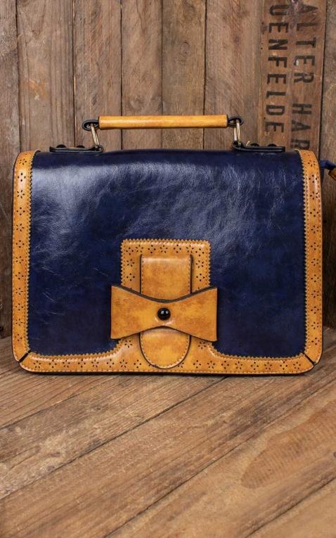 Banned Handbag - Vintage with bow, bleu