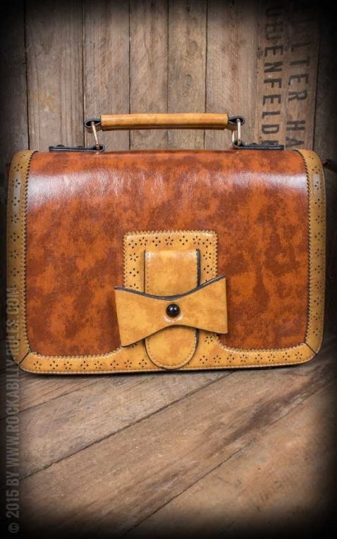 Handbag - Vintage with bow, brown