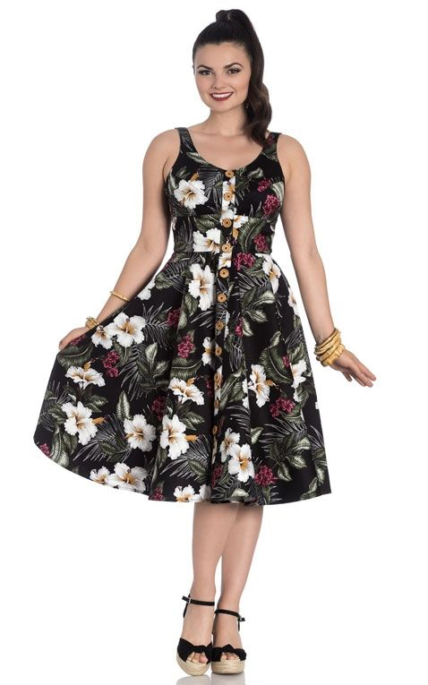 Hell Bunny - Hawaii Swing Dress Tahiti, black