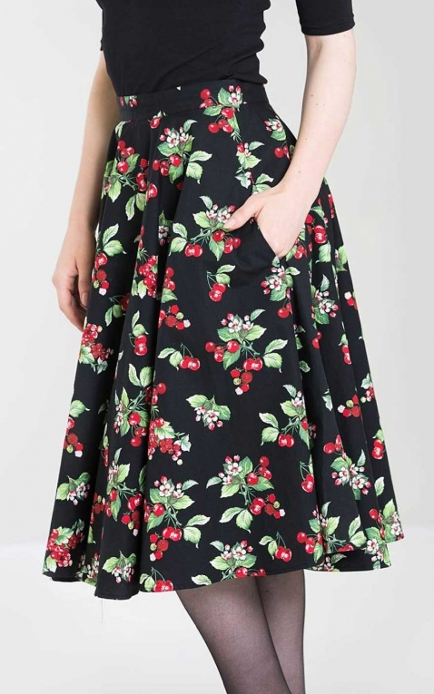 Hellbunny Swing Skirt Cherie with cherry print