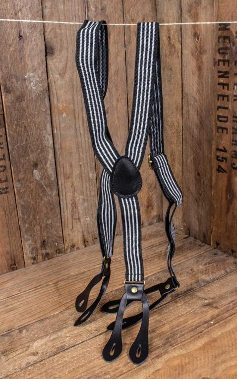 Hosenträger mit Streifen, schwarz-weiß