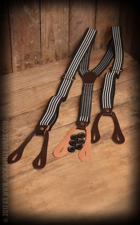 Suspenders with Stripes, black and white