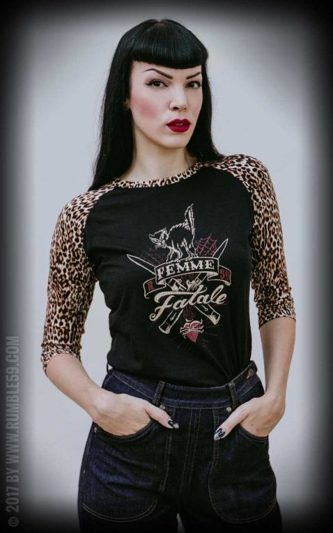 Rumble59 - Ladies Raglan Shirt with leo patch - Femme Fatale