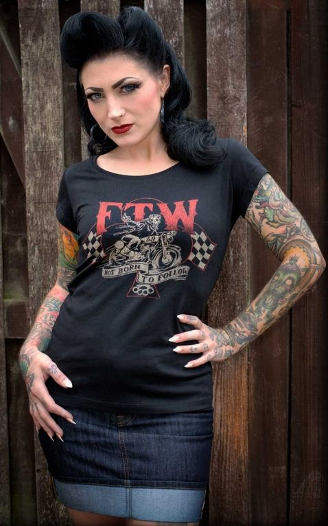 Rumble59 - Ladies Scoop Neck Shirt - Not born to follow