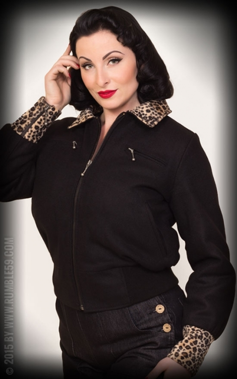 Rumble59 - Ladies Jacket with Leo Patch - black