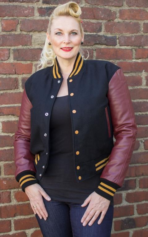 Lady Leder Baseball Jacke - schwarz/bordeaux
