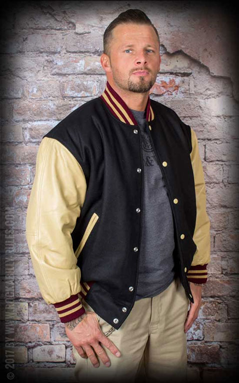 Leather Baseball Jacket - noir/beige