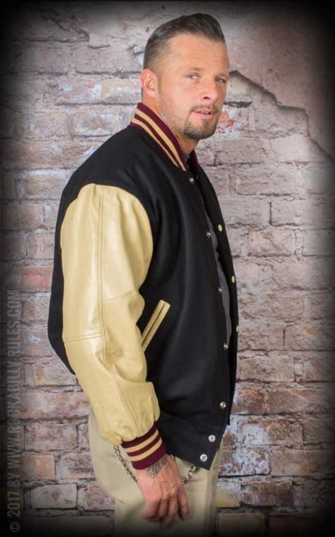 Leder Baseball Jacke - schwarz/beige