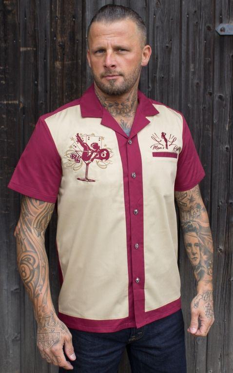 Rumble59 - Lounge Shirt - Mans Ruin - bordeaux/beige