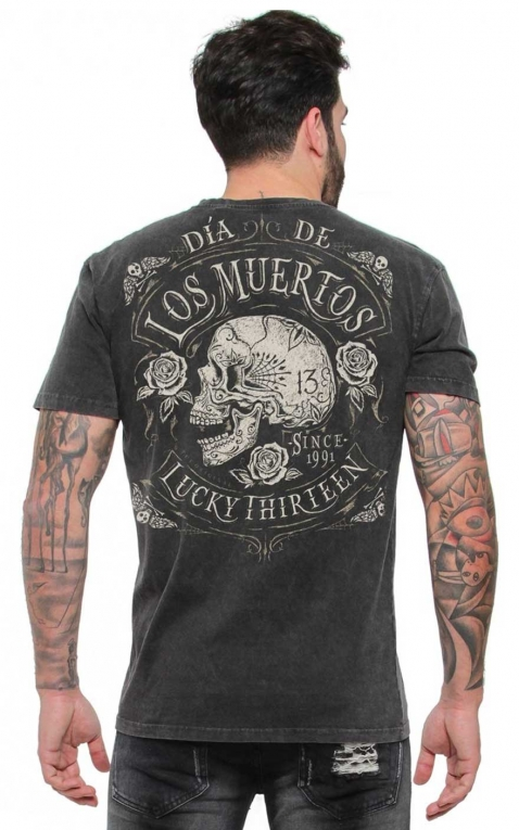 Lucky13 Mens T-Shirt - Dead Skull, washed