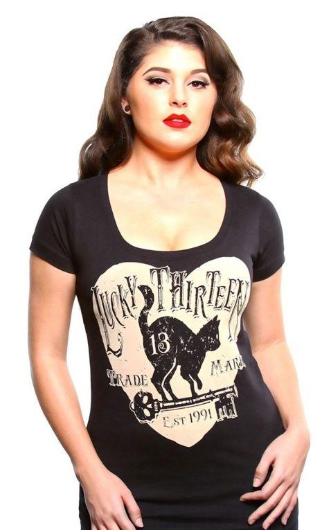 Lucky13 Damen Scoop Neck T-Shirt - 13 Cats Prowl