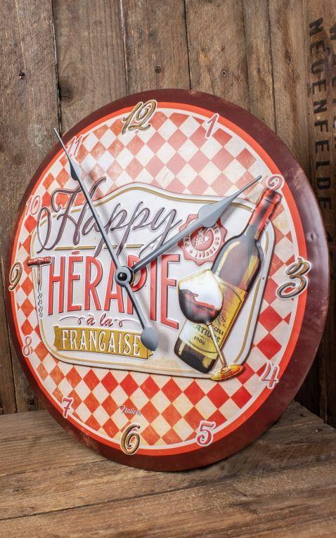 Metall Wanduhr Happy thérapie - Vin