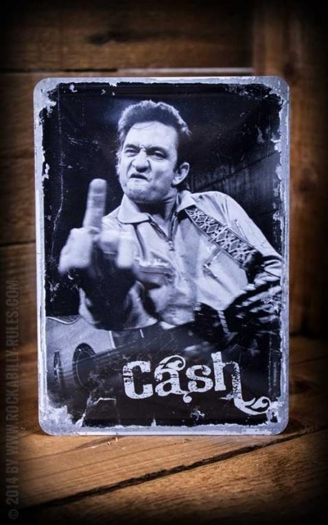 Tin plate postcard Johnny Cash
