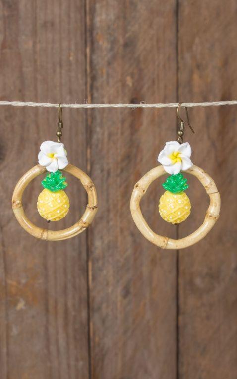 Mirandas Choice Boucles doreilles ananas en anneau de bambou