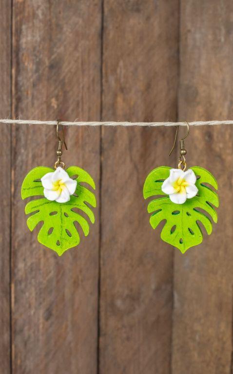 Mirandas Choice Earrings Plumeria on leaf