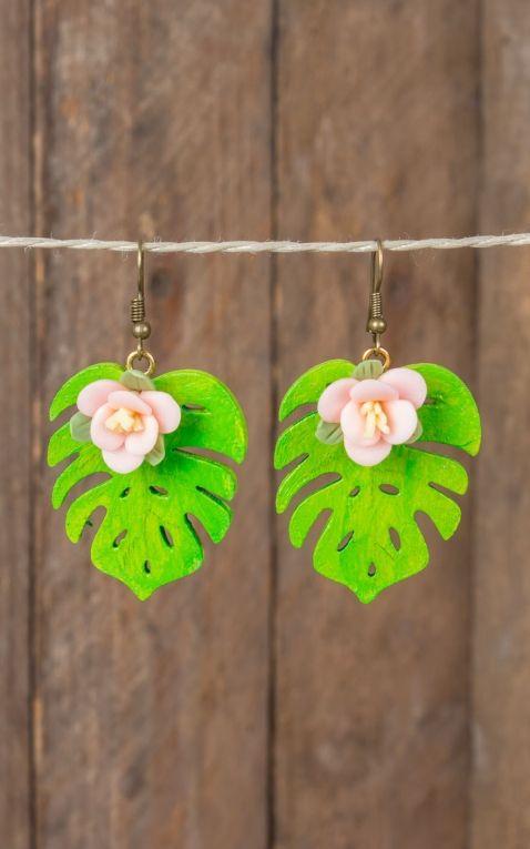 Mirandas Choice Earrings pink flower on leaf