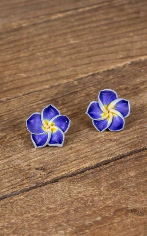 Mirandas Choice Ohrringe | Ohrstecker Blaue Hawaii Frangipani