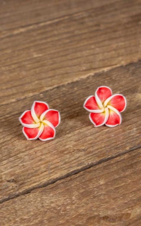 Mirandas Choice Boucles doreilles Frangipani Hawaii rouge