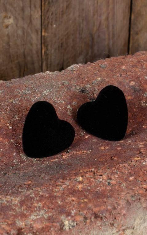 Collectif Ohrstecker Velvet, Herzen aus Samt, schwarz