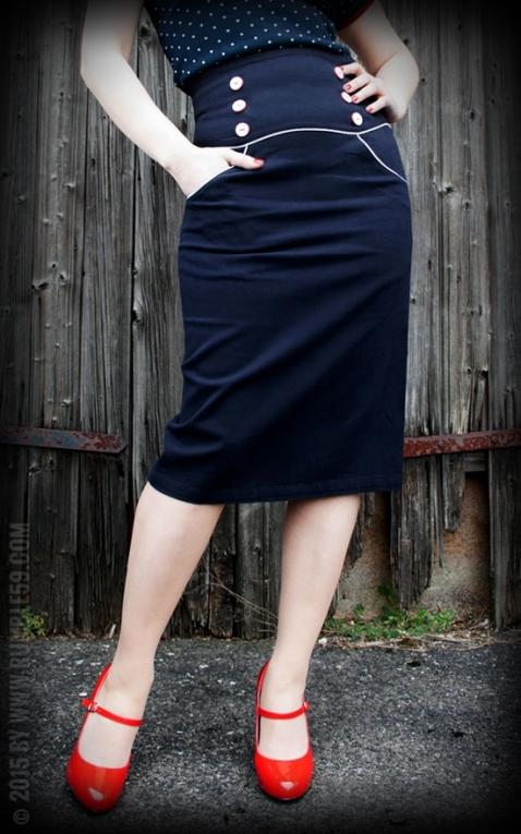 Rumble59 Ladies - High Waisted Pencil Skirt - Ahoi Sailor!