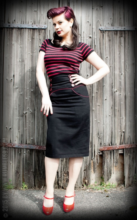 Rumble59 Ladies - High Waisted Pencil Skirt - Red Line