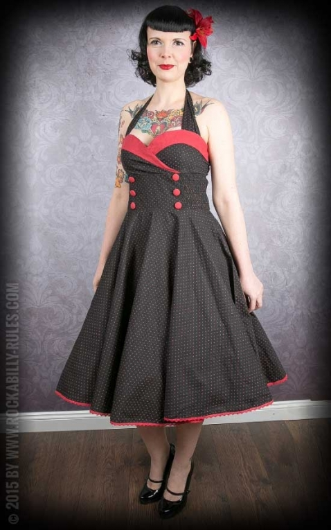 Neckholder Petticoat Dress - Polkadots - black/red
