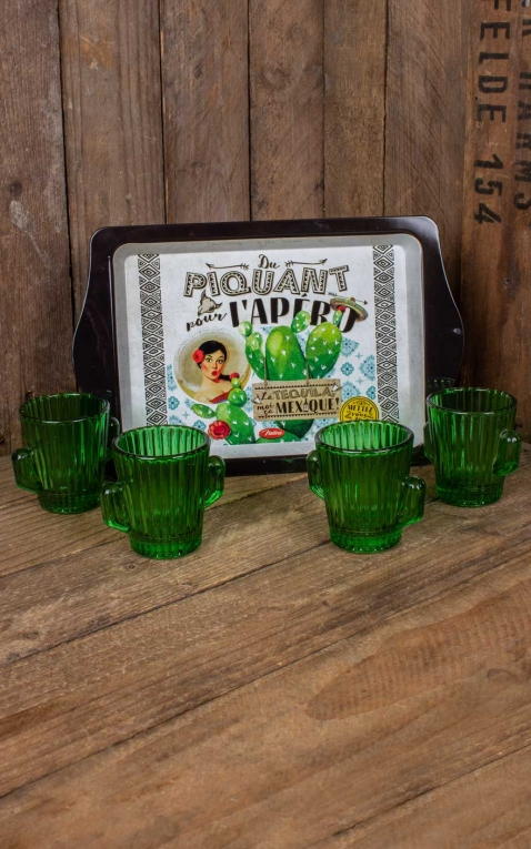 4 shot glass set with tray Mexico du piquant