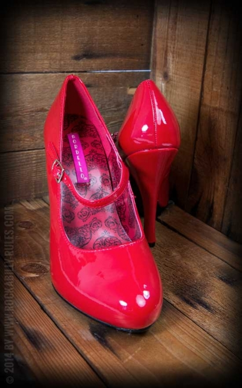 Pleaser High Heels mit Riemchen Mary Jane, rot