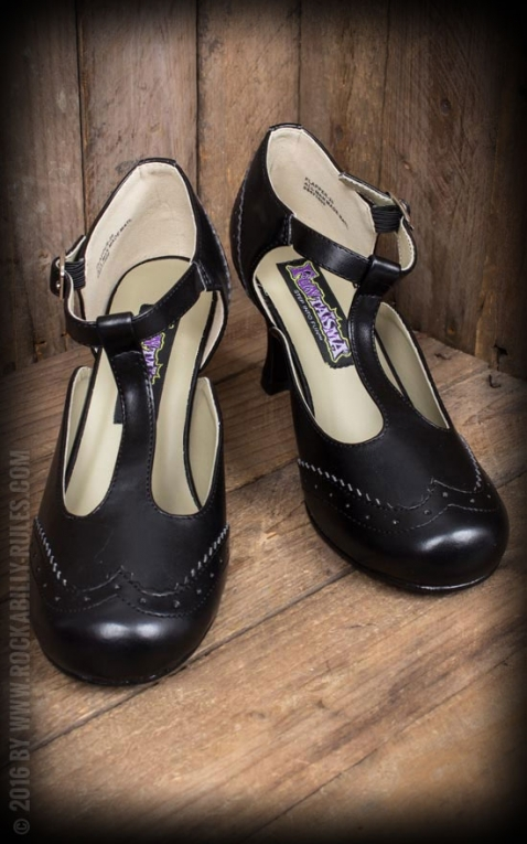 Pleaser Kitten Heels Wingtip T-Strap, schwarz
