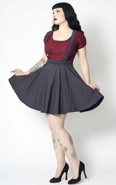Putre Fashion Swing Skirt Sandy Pinstripe with straps