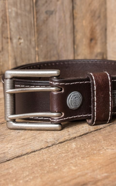 Rumble59 Leather belt with double- buckle, brown