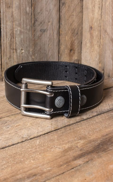 Rumble59 Leather belt with double- buckle, black