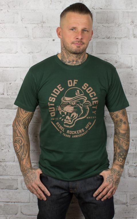 Rebel Rockers T-Shirt Outside of Society, flaschengrün