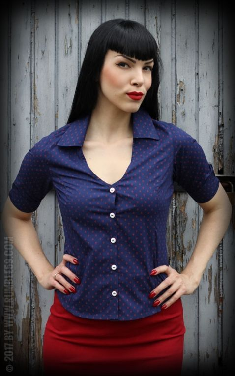 Rumble59 Ladies - Bluse Anchors Forever - blau/rot