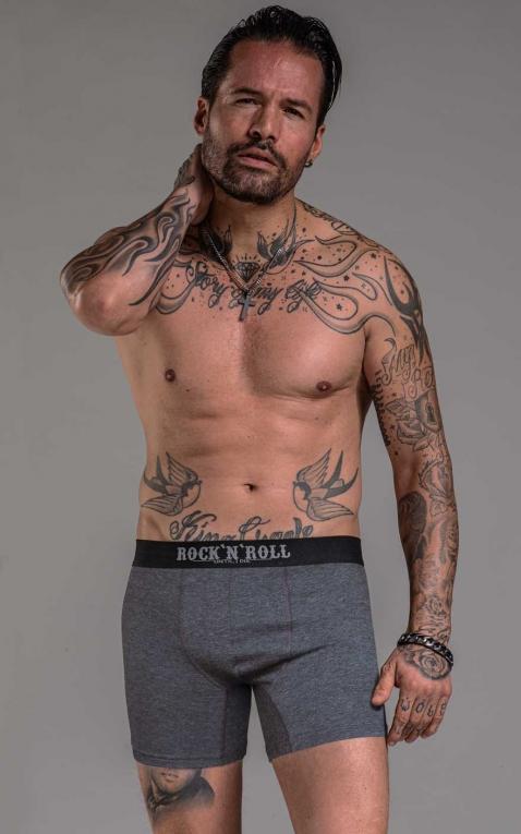 Rumble59 - Boxer shorts RnR Until I die - grey/black