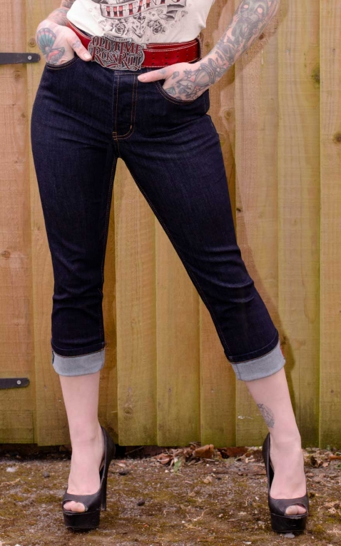 Rumble59 Ladies Denim - High-waisted Capri Jeans - Second Skin